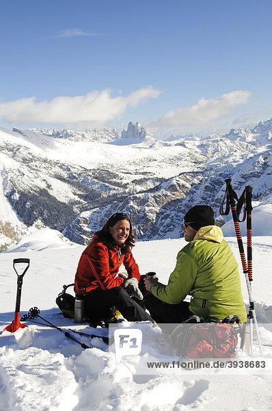 Ski tour  Mt. Grosser Jaufen  Pragser Tal  Hochpustertal  South Tyrol  Italy  Europe