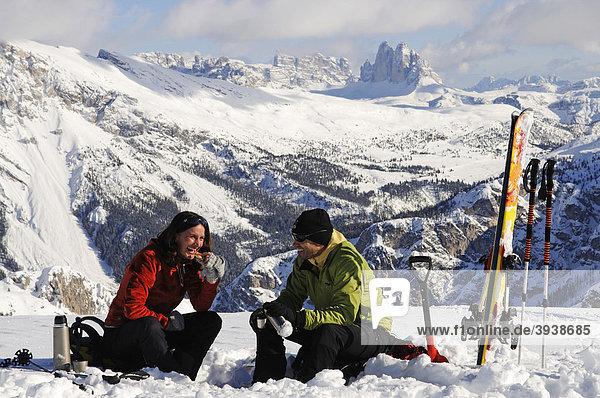 Break at a ski tour  Mt. Grosser Jaufen  Pragser Tal  Hochpustertal  South Tyrol  Italy  Europe