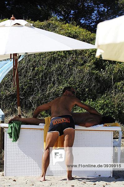 Massage  Cala de Ses Salines  Ibiza  Pine Islands  Balearic Islands  Spain  Europe