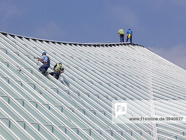 Arbeiter auf dem Dach der Bahnhofshalle in LiËge-Guillemins  Belgien  Europa