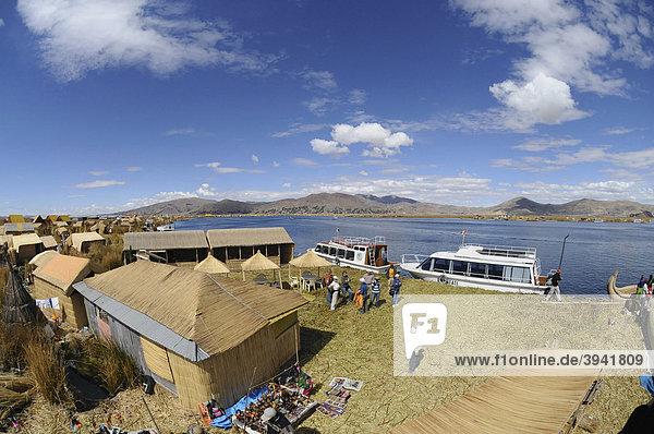 Uros  floating island  Lake Titicaca  Peru  South America  Latin America