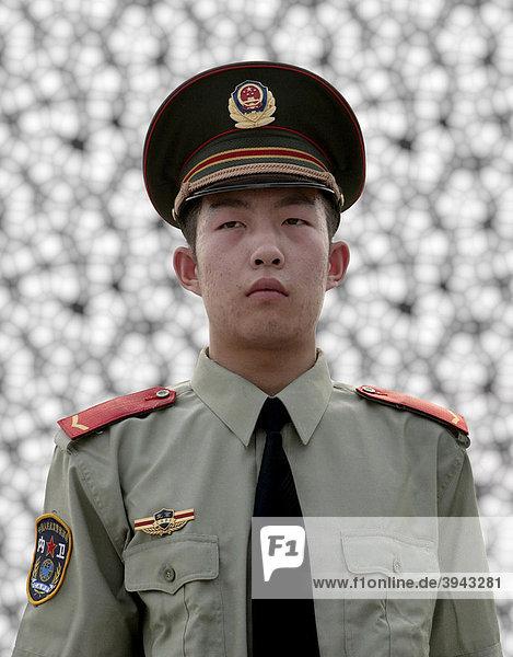 Chinese im Militär-Outfit  Peking  China  Asien