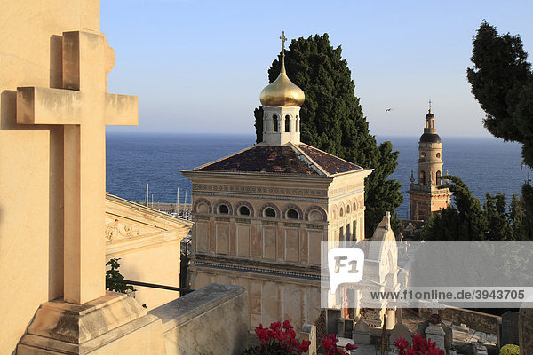 Friedhof CimetiËre du vieux chateau  Menton  DÈpartement Alpes Maritimes  RÈgion Provence Alpes CÙte d'Azur  Südfrankreich  Mittelmeer  Frankreich  Europa