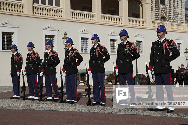 Changing of the Princely Guard at noon in front of the Prince's Palace  Principality of Monaco  Cote d'Azur  Europe