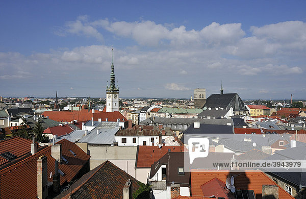 View of rooftops  town hall tower and St Maurice Church  historic town of Olomouc  Czech Republic  Europe