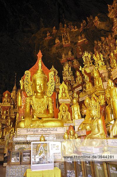 Buddhastatuen in der Pindaya Höhle  Pindaya  Burma  Birma  Myanmar  Südostasien