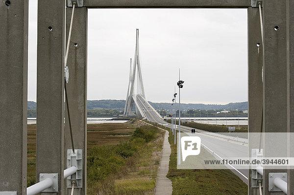 Pont du Normandie an der Seinemündung nahe Le Havre  Architekt Michel Virlogeux  Schrägseilbrücke  die mit 856 m die größte Spannweite in Europa besitzt  Frankreich  Europa