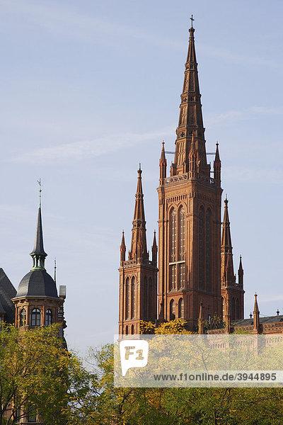 Marktkirche und Rathaus in Wiesbaden  Hessen  Deutschland  Europa