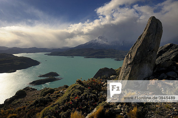Blick auf Lago Pehoe mit zwei kleinen Inseln  Patagonien  Chile  Südamerika