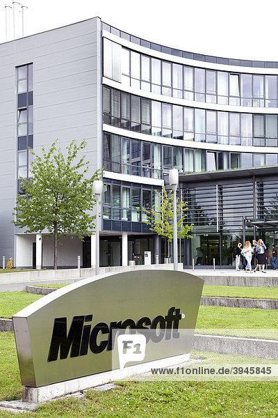 Die Zentrale der Microsoft GmbH für Deutschland und Europa in Unterschleißheim bei München,  Bayern,  Deutschland,  Europa