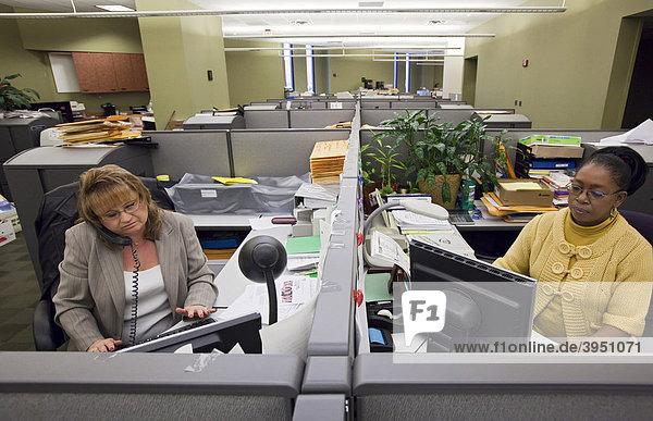 Detroit Public Schools secretaries on the job at the school system's central offices  Detroit  Michigan  USA