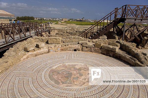 Kourion Ausgrabungsstätte  Mosaik  Limassol  Zypern  Griechenland  Europa