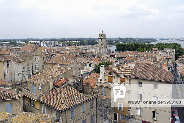 View from the ancient amphitheatre over the city of Arles  France  Europe