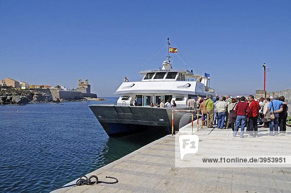 Ferry  people  port  Isla de Tabarca  Tabarca  Alicante  Costa Blanca  Spain  Europe