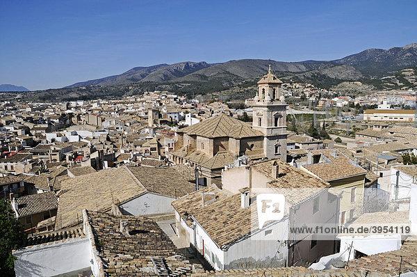 Cityscape  roofs  church  Caravaca de la Cruz  sacred city  Murcia  Spain  Europe