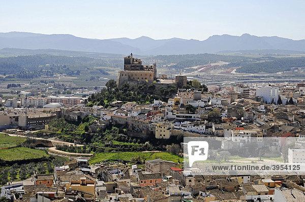 Stadtübersicht  Burg  Berg  Caravaca de la Cruz  heilige Stadt  Murcia  Spanien  Europa
