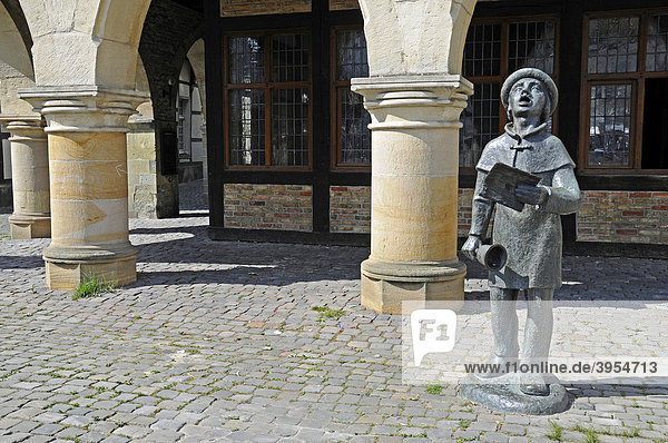 Sculpture  arcades  city hall  Werne  Kreis Unna district  North Rhine-Westphalia  Germany  Europe