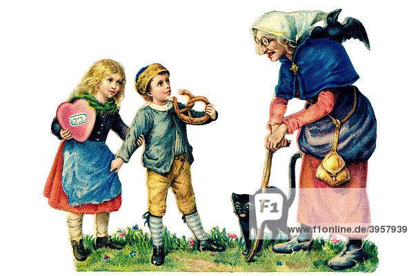 Historisches Glanzbild  Hänsel und Gretel mit Pfefferkuchenherz und Brezel  alte Hexe
