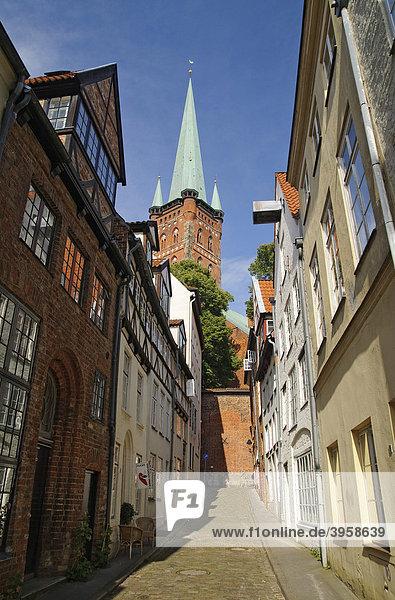 Klassische Wohnhäuser in einer Gasse an der Obertrave  hinten die Marienkirche  St. Marien zu Lübeck  Lübeck  Schleswig-Holstein  Deutschland  Europa