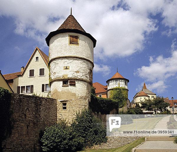 Stadtmauer  Dettelbach  Franken  Bayern  Deutschland  Europa