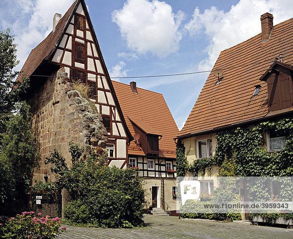 Haus auf Stadtmauer  Spalt  Franken  Bayern  Deutschland  Europa