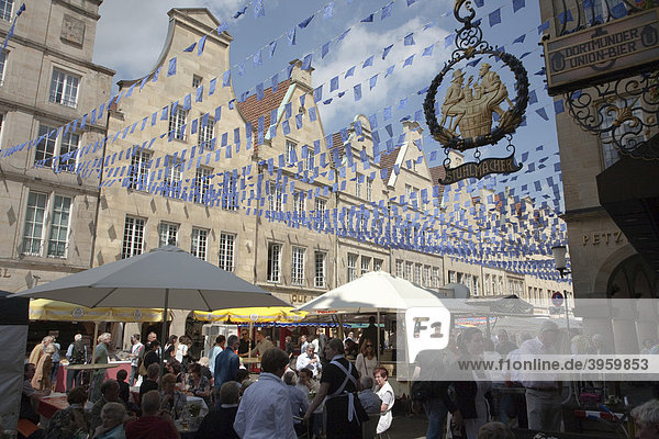 Europe Day in Muenster  gabled houses on the Prinzipalmarkt square  North Rhine-Westphalia  Germany  Europe