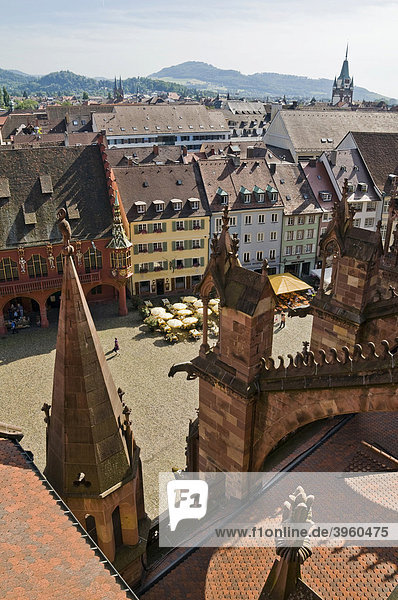The cathedral square seen from the cathedral of Freiburg im Breisgau  Baden-Wuerttemberg  Germany  Europe