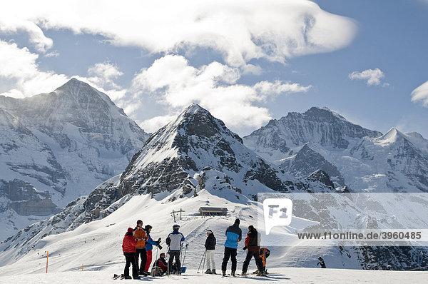 Winter Landscape with skiers  Grindelwald  Switzerland  Europe