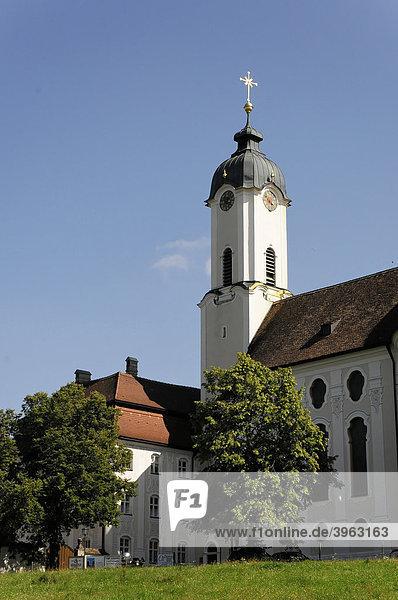 Teilaußenansicht  Wieskirche  Steingaden  Allgäu  Bayern  Deutschland  Europa