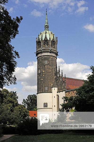 Teilansicht  Turm der Evangelischen Schlosskirche  Lutherstadt Wittenberg  Sachsen-Anhalt  Deutschland  Europa