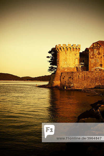 Stadtmauer von Korcula  Insel Korcula  Dubrovnik Neretva  Dalmatien  Kroatien  Europa