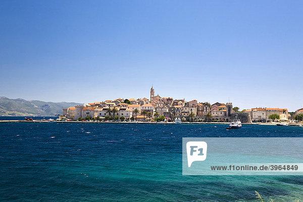 Stadtansicht Korcula  Insel Korcula  Dubrovnik Neretva  Dalmatien  Kroatien  Europa