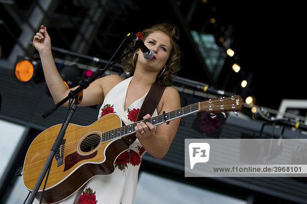 Norwegian singer Benedicte Braenden live at the Blue Balls festival Lucerne in front of the KKL  Lucerne  Switzerland