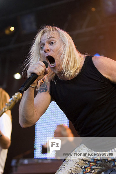 Bernie Shaw  singer and frontman of the British rock band Uriah Heep live at the A Magic Night Of Rock Open Air at the Heitere in Zofingen  Switzerland