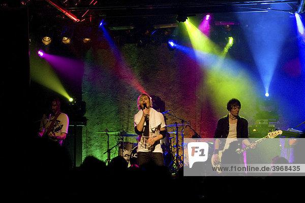 Swiss rock band Lovebugs performing live in Schueuer concert hall  Lucerne  Switzerland