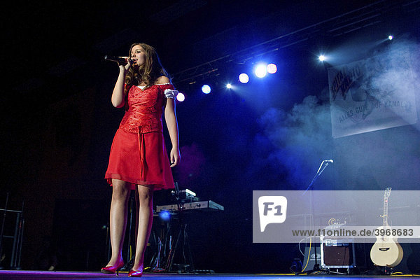 Swiss schlager and folk singer Nadine performing live at the Musigstadel at Horwerhalle concert hall  Horw  Switzerland