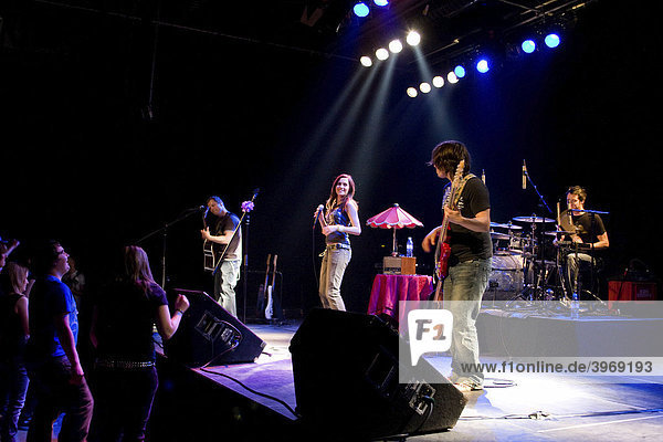 Swiss singer and actress Mia Aegerter performing live with band at Chollerhalle concert hall  Zug  Switzerland  Europe