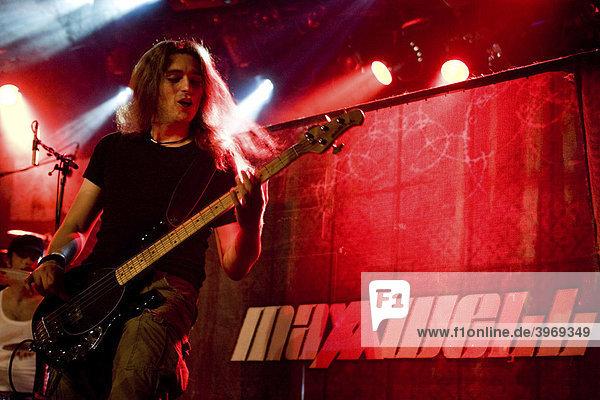 Tom Kirchhofer  bass  of the Swiss hard rock band Maxxwell live at the Schueuer Lucerne  Switzerland