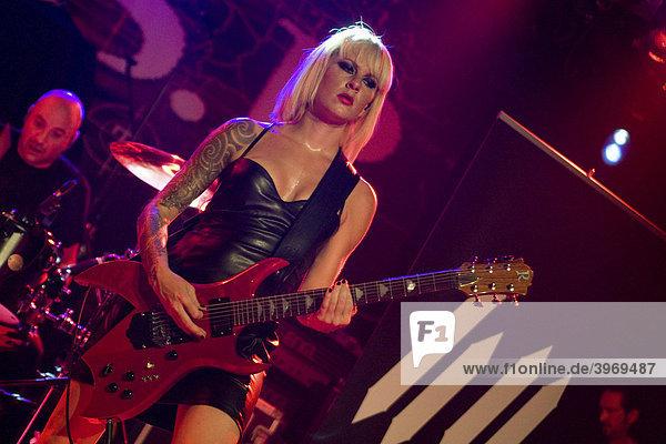 Nina Treml  singer and guitarist of the Swiss metal-rock band 69 Chambers  live in Schueuer  Lucerne  Switzerland