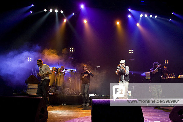 Cuban band Orishas performing live in the Lucerne Hall of the KKL  Lucerne  Switzerland  Europe