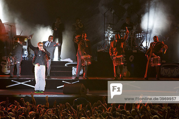 The German reggae and hip hop singer Peter Fox live at the Heitere Open Air festival in Zofingen  Aargau  Switzerland