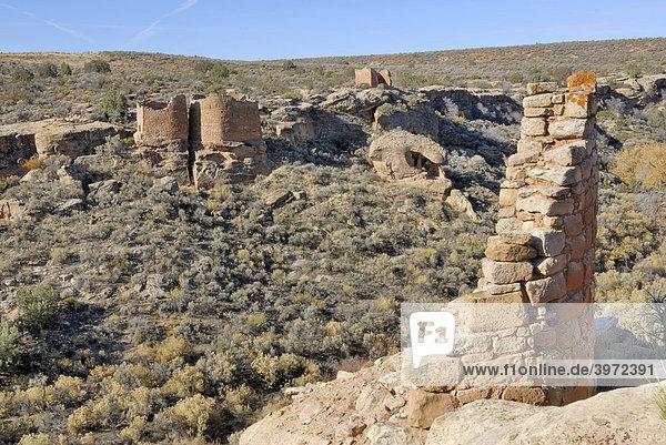 Reste historischer Bauten der Ancestral Puebloans  vorne Stronghold Tower  hinten Eroded Boulder House  Twin Towers und Rim Rock House  um 1200 n. Chr.  Little Ruin Canyon  Hovenweep National Monument  Colorado  USA