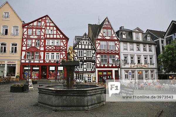 Half-timbered houses on the market square in Hachenburg  Westerwald  Rhineland-Palatinate  Germany  Europe