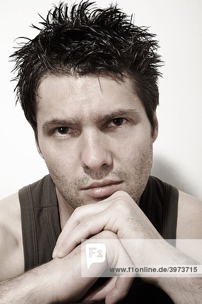 Dark-haired young man  portrait