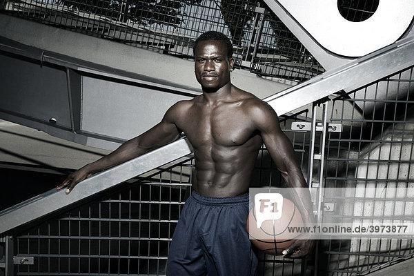 Dark-skinned basketball player  portrait
