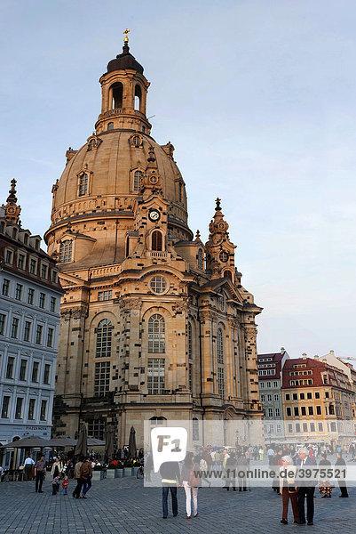 Frauenkirche im Abendlicht  Dresden  Sachsen  Deutschland  Europa