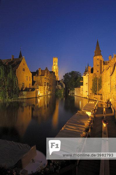 Belfry and River Dijver at dusk  Bruges  Flanders  Belgium  Europe