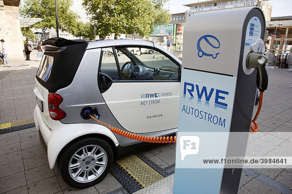 Electricity for cars from a filling station by the RWE power company  Essen  North Rhine-Westphalia  Germany  Europe
