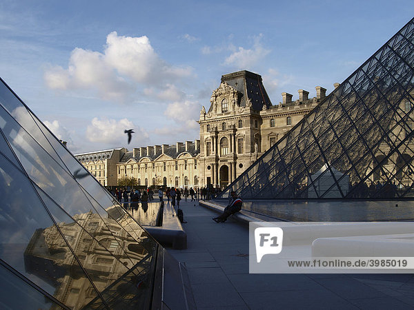 Pyramid in the courtyard of the Louvre  Paris  France  Europe