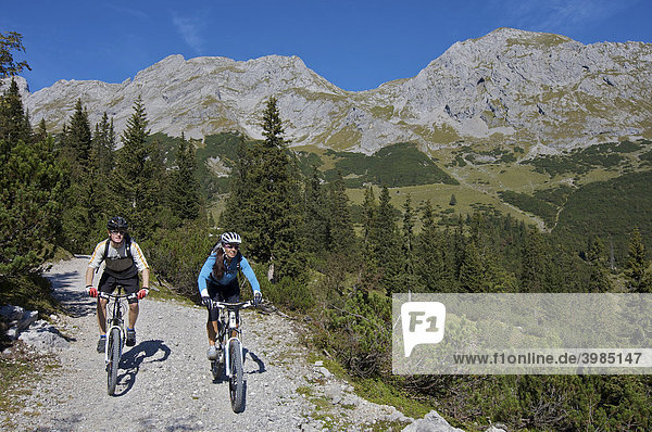 Mountainbike riders  male and female between Karwendelhaus  alpine club house  and Kleiner Ahornboden forest district  Hinterriss  Tyrol  Austria  Europe